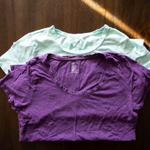Gap Stretch Tees- Mint & Purple Medium